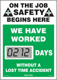 Mini Digi-Day® Safety Scoreboard: We Have Worked ____ Days Without A Lost Time Accident