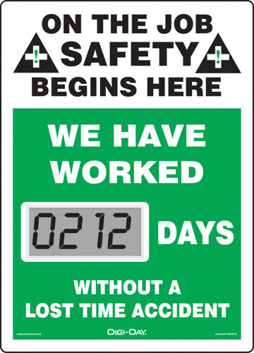 A photograph of a 06231 mini digi-day® safety scoreboard: we have worked ____ days without a lost time accident.