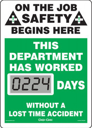 A photograph of a 06232 mini digi-day® safety scoreboard: this department has worked ____ days without a lost time accident.