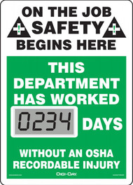 Mini Digi-Day® Safety Scoreboard: This Department Has Worked ____ Days Without An OSHA Recordable Injury