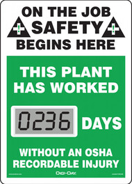 A photograph of a 06234 mini digi-day® safety scoreboard: this plant has worked ____ days without an osha recordable injury.