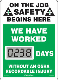 Mini Digi-Day® Safety Scoreboard: We Have Worked ____ Days Without An OSHA Recordable Injury