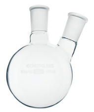 Flask, Round Bottom, Heavy Wall, 2 Neck w/ 20° Angle