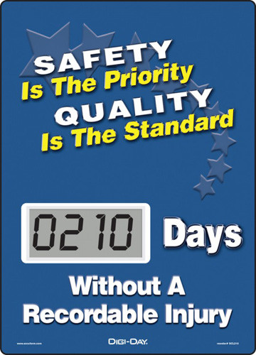 A photograph of a 06236 mini digi-day® safety scoreboard: safety is the priority - quality is the standard - ____ days without a recordable injury.