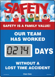 Mini Digi-Day® Safety Scoreboard: Safety Is A Family Value - Our Team Has Worked ____ Days Without A Lost Time Accident