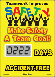 Mini Digi-Day® Safety Scoreboard: Teamwork Improves Safety - Make Safety A Team Goal -  ____ Days Accident Free