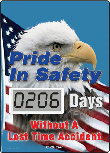 A photograph of a 06241 mini digi-day® safety scoreboard: pride in safety - ____ days without a lost time accident.