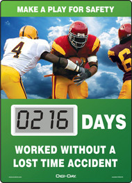 A photograph of a 06243 mini digi-day® safety scoreboard: make a play for safety - ____ days worked without a lost time accident.