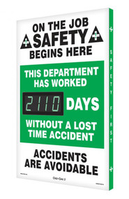 Digi-Day® 3 Electronic Scoreboard: This Department Has Worked ____ Days Without a Lost Time Accident