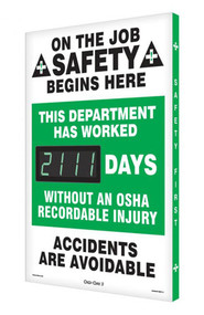 A photograph of a 06322 digi-day® 3 electronic scoreboard: this department has worked ____ days without an osha recordable injury.