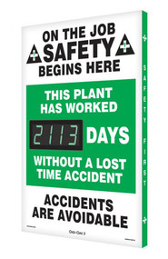 A photograph of a 06323 digi-day® 3 electronic scoreboard: this plant has worked ____ days without a lost time accident.