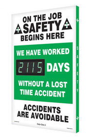 Digi-Day® 3 Electronic Scoreboard: We Have Worked ____ Days Without A Lost Time Accident