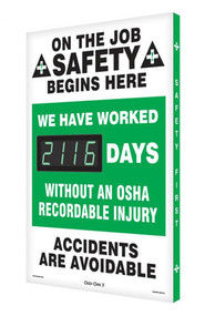 A photograph of a 06326 digi-day® 3 electronic scoreboard: we have worked ____ days without an osha recordable injury.
