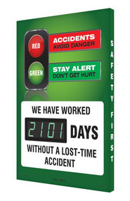 A photograph of a 06328 digi-day® 3 electronic scoreboard: accidents avoid danger - stay alert don't get hurt -we have worked ____ days without a lost time accident.
