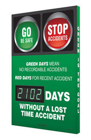 A photograph of a 06329 digi-day® 3 electronic scoreboard: green days mean no recordable accidents - red days for recent accident- ____ days without a lost time accident.
