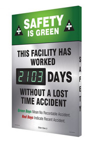 A photograph of a 06330 digi-day® 3 electronic scoreboard: safety is green - this facility has worked ____ days without a lost time accident.