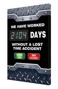 Digi-Day® 3 Electronic Scoreboard: We Have Worked  ____ Days Without A Lost Time Accident - Green Safe - Red Accident