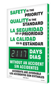 A photograph of a 06327 digi-day® 3 electronic scoreboard: safety is the priority - quality is the standard - ____ days without an accident.