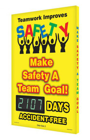 A photograph of a 06334 digi-day® 3 electronic scoreboard: teamwork improves safety! - make safety a team goal! - ____ days accident free.