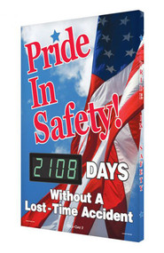 A photograph of a 06335 digi-day® 3 electronic scoreboard: pride in safety! ____ days without a lost time accident.