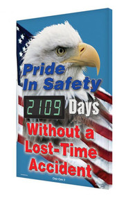 A photograph of a 06336 digi-day® 3 electronic scoreboard: pride in safety - ____ days without a lost time accident w/eagle.