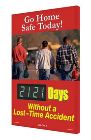 A photograph of a 06337 digi-day® 3 electronic scoreboard: go home safe today - ____ days without a lost time accident.