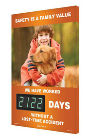 A photograph of a 06338 digi-day® 3 electronic scoreboard: safety is a family value - we have worked ____ days without a lost time accident with golden retriever.