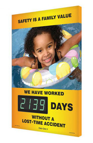 A photograph of a 06339 digi-day® 3 electronic scoreboard: safety is a family value - we have worked ____ days without a lost time accident with summer.