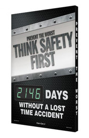 A photograph of a 06341 digi-day® 3 electronic scoreboard: prevent the worst think safety first - ____ days without a lost time accident.