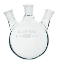 Flask, Round Bottom, Heavy Wall, Three Neck, 20° Angle, Smaller
