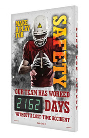 A photograph of a 06343 digi-day® 3 electronic scoreboard: make a play for safety - our team has worked ____ days without a lost-time accident, football style 2.