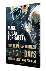 A photograph of a 06344 digi-day® 3 electronic scoreboard: make a play for safety - our team has worked ____ days without a lost-time accident, football style 3.
