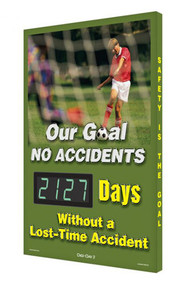 A photograph of a 06345 digi-day® 3 electronic scoreboard: our goal no accidents - ____ days without a lost-time accident.