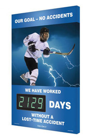 A photograph of a 06347 digi-day® 3 electronic scoreboard: our goal no accidents - ____ days without a lost-time accident with hockey.