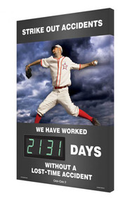 A photograph of a 06348 digi-day® 3 electronic scoreboard: strike out accidents - ____ days without a lost-time accident with baseball.