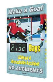 A photograph of a 06349 digi-day® 3 electronic scoreboard: make a goal - ____ days without a recordable accident - no accidents with hockey.