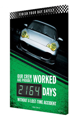 A photograph of a 06355 digi-day® 3 electronic scoreboard: finish your day safely - our crew has proudly worked ____ days without a lost-time accident, racing style 3.