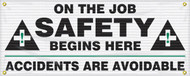 Drawing of the black and white, On The Job Safety Begins Here safety banner.