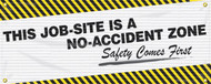 Drawing of the white, and yellow-black striped Safety Comes First Safety Banner.