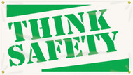 """Picture of Workplace Safety Banner that features a colorful green and white background, and wording of """"Think Safety"""" in a bold green stylish font."""