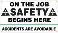 Workplace Safety Banner: On The Job Safety Begins Here