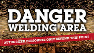 Workplace Safety Banner: Danger Welding Area - Authorized Personnel Only Beyond This Point, 4-ft