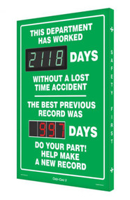 A photograph of a 06385 Digi-Day® 3 double display scoreboard: this department has worked ____ days without a lost time accident - the best previous record was ____ days.