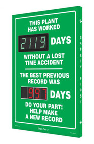 A photograph of a 06386 Digi-Day® 3 double display scoreboard: this plant has worked ____ days without a lost time accident - the best previous record was ____ days.
