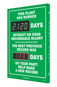 A photograph of a 06387 Digi-Day® 3 double display scoreboard: this plant has worked ____ days without an OSHA recordable injury - the best previous record was ____ days.