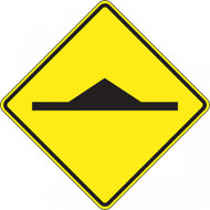 A photograph of a yellow and black 06253 speed bump sign, with speed bump image.