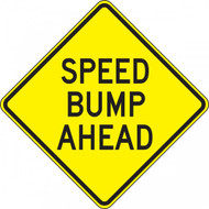 A photograph of a yellow and black 06256 speed bump sign, reading speed bump ahead.