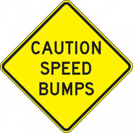 A photograph of a yellow and black 06257 speed bump sign, reading caution speed bumps.