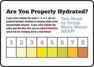 A photograph of a 11060 safety sign, reading are you properly hydrated with color indicator.