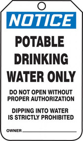 A photograph of front of a blue and white 11065 OSHA notice safety tag, reading potable drinking water only.